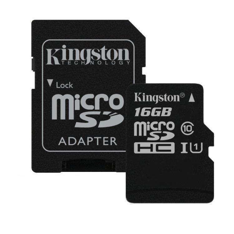 Kingston Canvas SeIect Micro SDHC 16GB + SD adaptér, UHS-I U1, Class 10 - rýchlosť 80 MB/s (SDCS/16GB)
