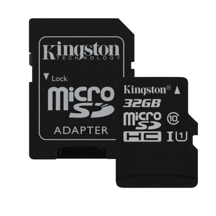 Kingston Canvas Select Micro SDHC 32GB + SD adaptér, UHS-I U1, Class 10 - rýchlosť 80 MB/s (SDCS/32GB)