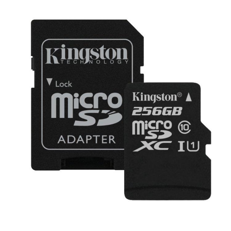 Kingston Canvas Select Micro SDXC 256GB + SD adaptér, UHS-I, Class 10 - rýchlosť 80 MB/s (SDCS/256GB)