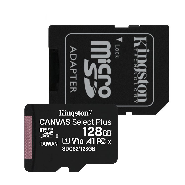 Kingston Canvas SeIect Plus Micro SDXC 128GB + SD adaptér, UHS-I A1, Class 10 - rýchlosť 100 MB/s (SDCS2/128GB)
