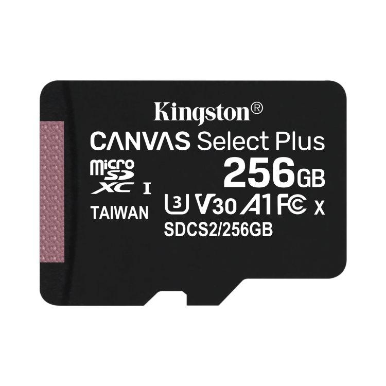 Kingston Canvas SeIect Plus Micro SDXC 256GB, UHS-I A1, Class 10 - rýchlosť 100/85 MB/s (SDCS2/256GBSP)