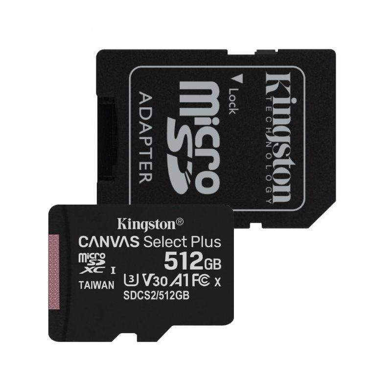 Kingston Canvas SeIect Plus Micro SDXC 512GB + SD adaptér, UHS-I A1, Class 10 - rýchlosť 100/85 MB/s (SDCS2/512GB)