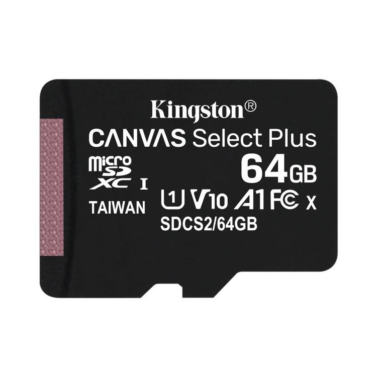 Kingston Canvas SeIect Plus Micro SDXC 64GB, UHS-I A1, Class 10 - rýchlosť 100 MB/s (SDCS2/64GBSP)