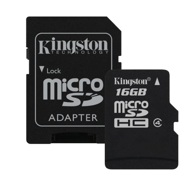 Kingston Micro SDHC 16GB + SD adapt�r, Class 4 - r�chlos� 14 MB/s (SDC4/16GB)