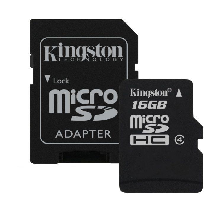 Kingston Micro SDHC 16GB + SD adaptér, Class 4 - rýchlosť 14 MB/s (SDC4/16GB)