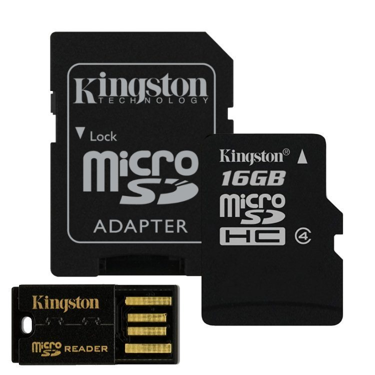 Kingston Micro SDHC 16GB + SD adapt�r, Class 4 - r�chlos� 14 MB/s + USB micro ��ta�ka (MBLY4G2/16GB)