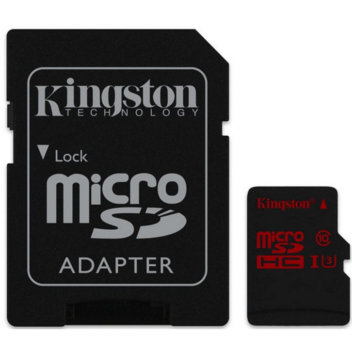 Kingston Micro SDHC 16GB + SD adapt�r, U3 - r�chlos� ��tania a� 90 MB/s, r�chlos� z�pisu 80 MB/s