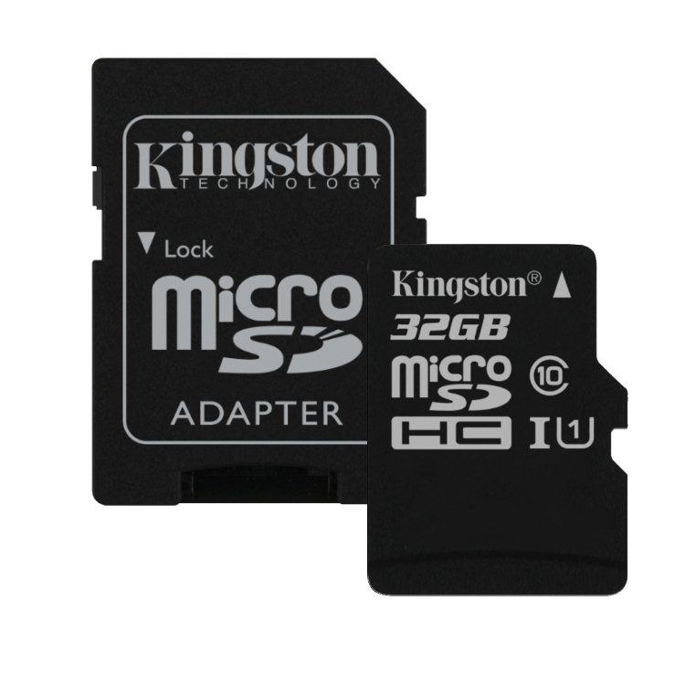Kingston Micro SDHC 32GB + SD adaptér, UHS-I, Class 10 - rýchlosť 45 MB/s (SDC10G2/32GB)