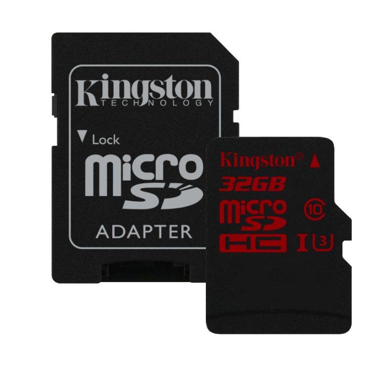 Kingston Micro SDHC 32GB + SD adaptér, UHS-I U3, Class 10 - rýchlosť čítania 90 MB/s, zápisu 80 MB/s (SDCA3/32GB)