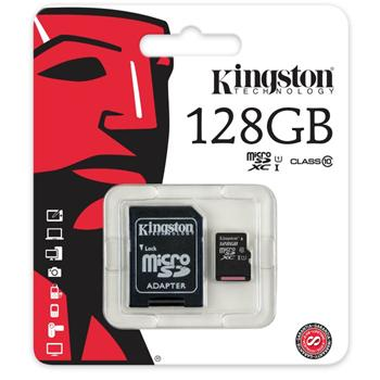 Kingston Micro SDXC 128 GB + SD adapt�r, UHS-I, Class 10 - r�chlos� 30 MB/s