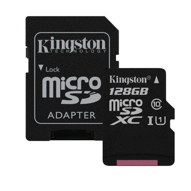 Kingston Micro SDXC 128GB + SD adaptér, UHS-I, Class 10 - rýchlosť 45 MB/s (SDC10G2/128GB)