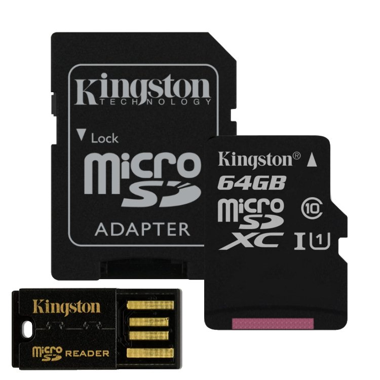 Kingston Micro SDXC 64GB + SD adapt�r, Class 10 - r�chlos� 30 MB/s  + USB micro ��ta�ka (MBLY10G2/64GB)
