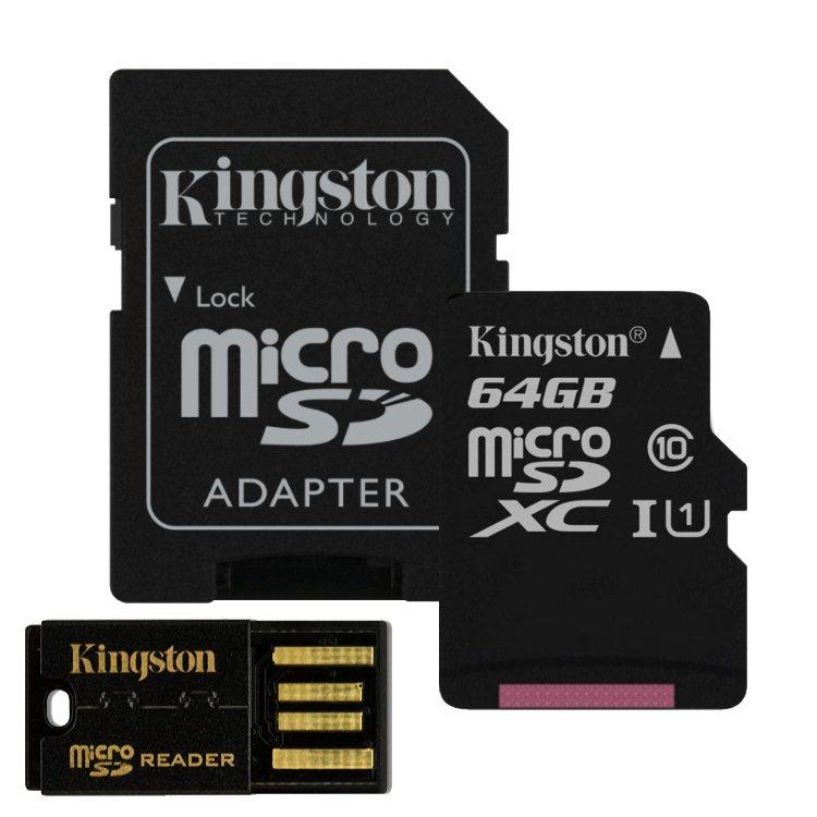 Kingston Micro SDXC 64GB + SD adaptér, Class 10 - rýchlosť 30 MB/s + USB micro čítačka (MBLY10G2/64GB)