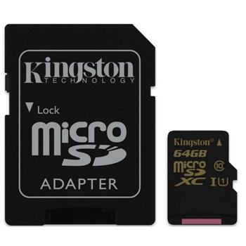 Kingston Micro SDXC 64GB + SD adapt�r, UHS-I, Class 10 - r�chlos� 90 MB/s