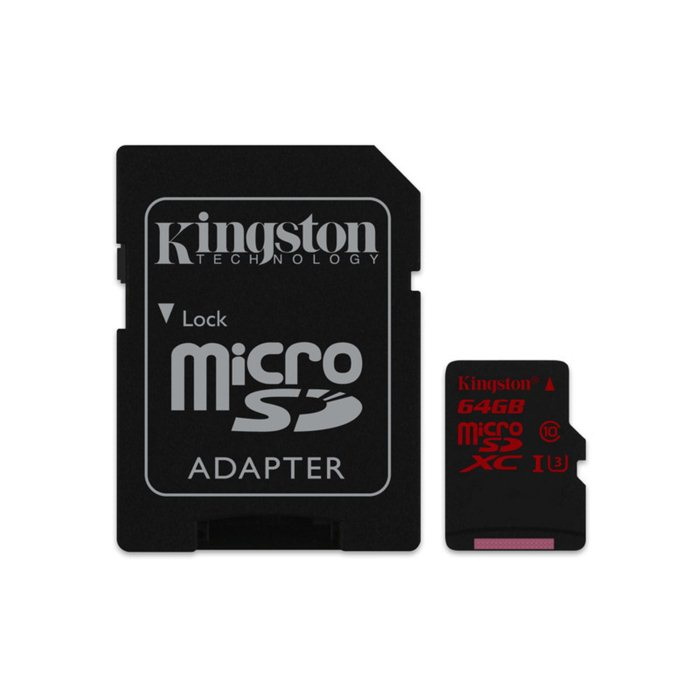 Kingston Micro SDXC 64GB + SD adapt�r, UHS-I U3, Class 10 - r�chlos� ��tania 90 MB/s, z�pisu 80 MB/s (SDCA3/64GB)
