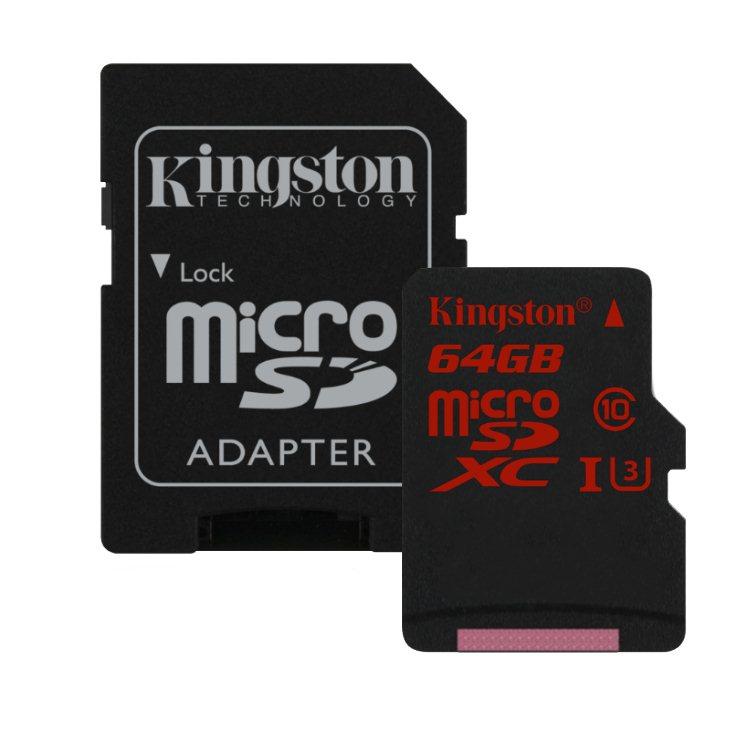 Kingston Micro SDXC 64GB + SD adaptér, UHS-I U3, Class 10 - rýchlosť čítania 90 MB/s, zápisu 80 MB/s (SDCA3/64GB)