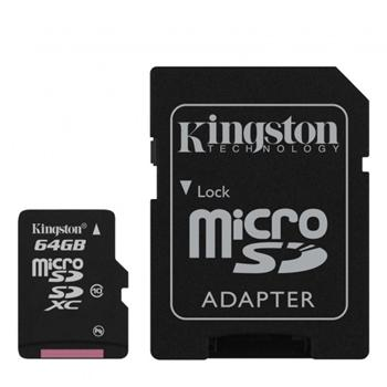 Kingston Micro SDXC Card 64GB + SDHC adapt�r, Class 10 - r�chlos� 30 MB/s