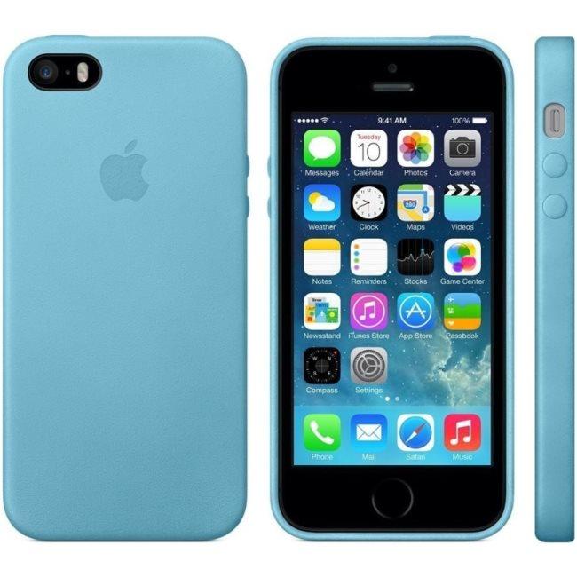 Kožené originálne puzdro Apple MF044FE/A pre Apple iPhone 5, 5S a SE, Blue