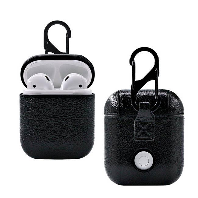 Koženkový obal pre Apple AirPods s karabinkou, čierny