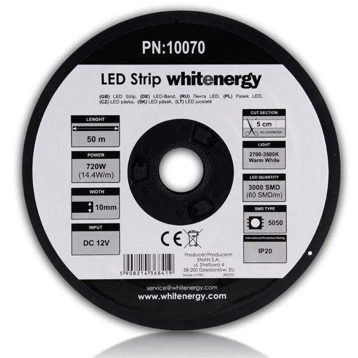 LED pas WhiteEnergy 50m SMD5050 14.4W/ m 10mm, Teplá biela