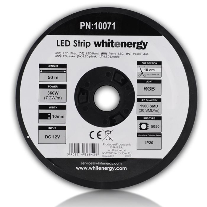 LED pas WhiteEnergy 50m SMD5050 7.2W/ m 10mm, RGB