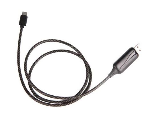 LED svietiaci dátový kábel pre Váš mobil alebo tablety s USB Typ C konektorom, Black