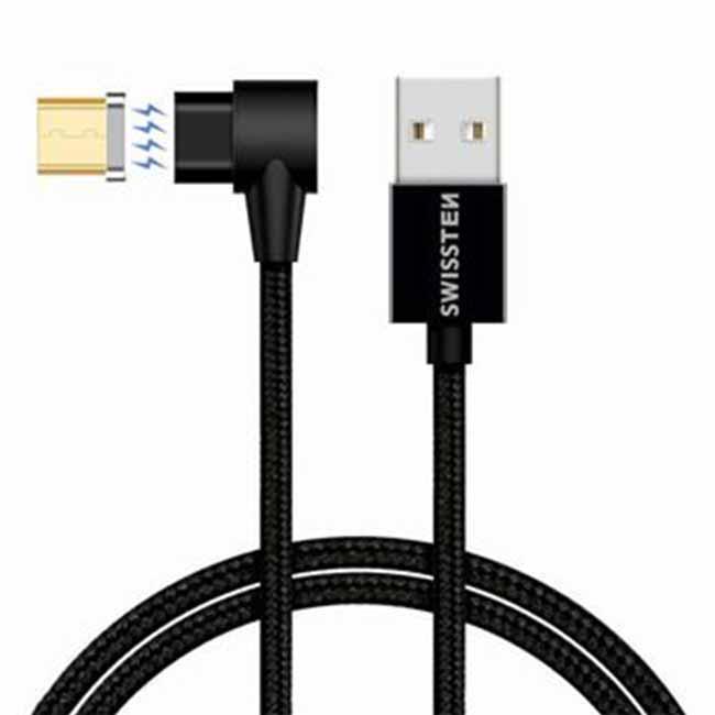 Magnetický dátový kábel Swissten Arcade textilný s Micro USB konektorom a podporou rýchlonabíjania, Black 71527400