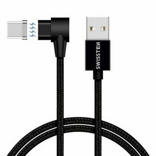 Magnetický dátový kábel Swissten Arcade textilný s USB-C konektorom a podporou rýchlonabíjania, Black 71528100