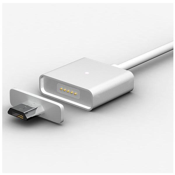 Magnetický nabíjací / dátový kábel WSKEN + 2 plastové koncovky v striebornej farbe s microUSB konektorom