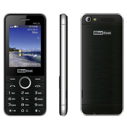 MaxCom MM136, Dual SIM, čierno-strieborný - SK distribúcia