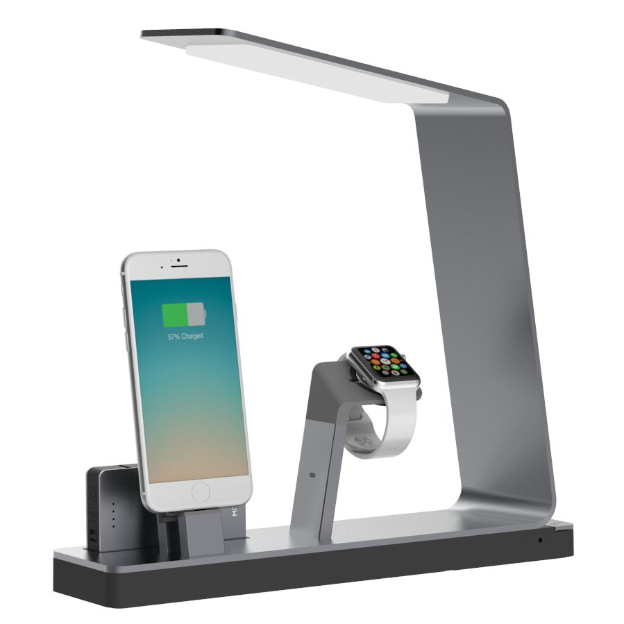 MiTagg NuDock Power Lamp - Stojan pre Apple iPhone a Apple Watch, Grey