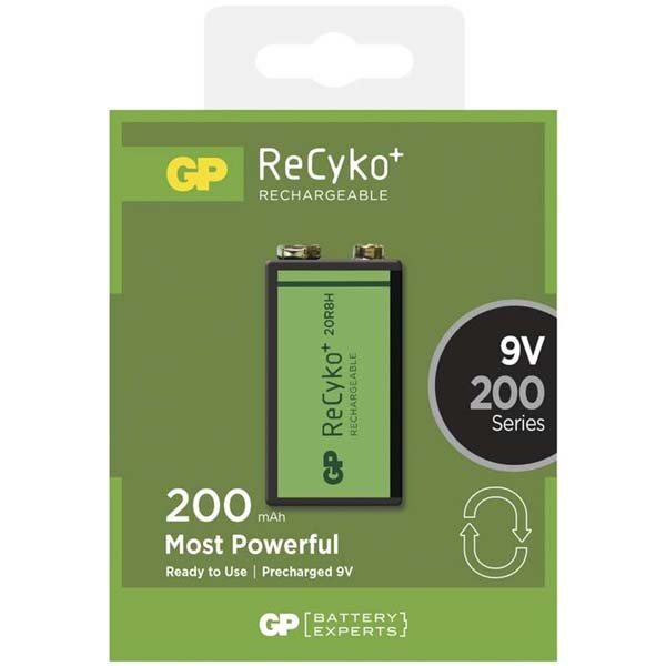 Nabíjacia batéria typ 9V, GP Recyko 6F22 200mAh, 1 kus