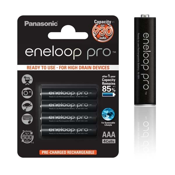 Nabíjacia mikrotužková batéria AAA, Panasonic Eneloop NiMh 1,2V 930mAh BL4, 4 kusy