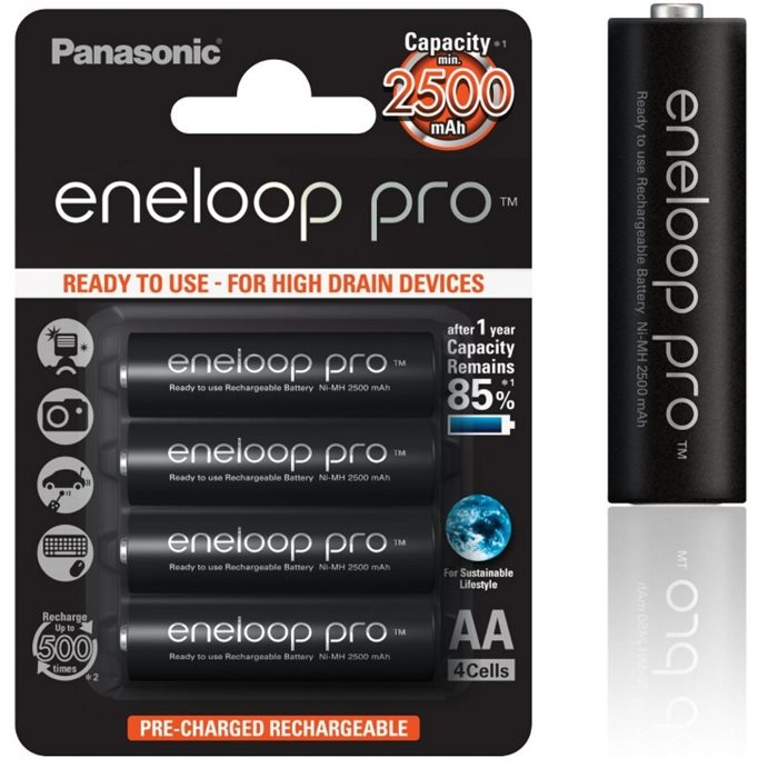Nabíjacia tužková batéria AA, Panasonic Eneloop Pro, NiMh 1,2V 2500mAh BL4, 4 kusy