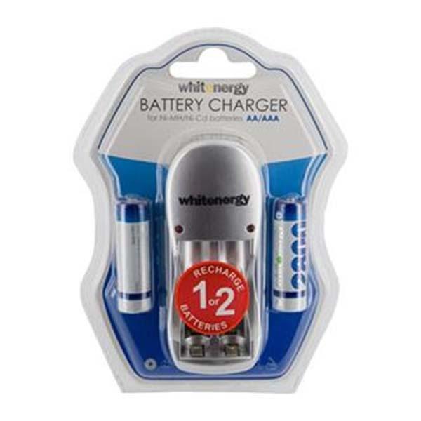 Nabíjačka batérií, White Energy pre 2 x AA/AAA batérie + 2x AA 2800 mAh