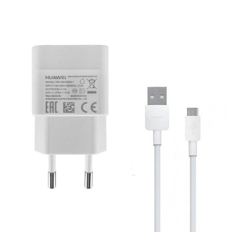 Nabíjačka Huawei HW-050100E01W USB + nabíjací kábel microUSB, White