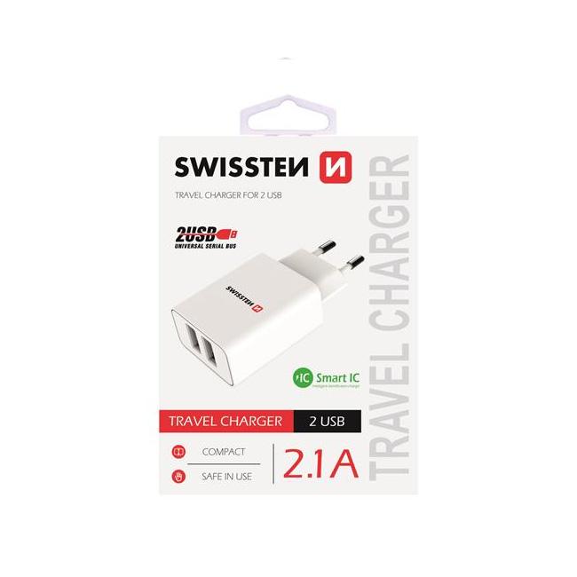 Nabíjačka Swissten Smart IC 2.1A s 2 USB konektormi, biela