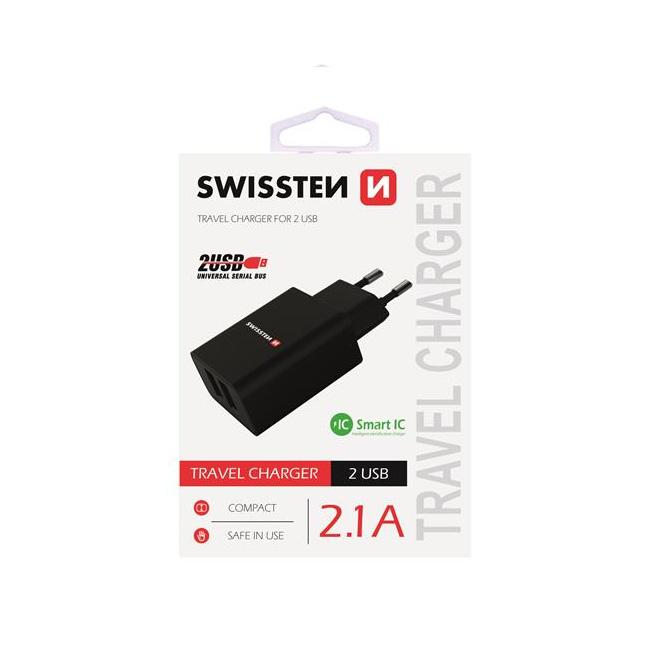 Nabíjačka Swissten Smart IC 2.1A s 2 USB konektormi, čierna