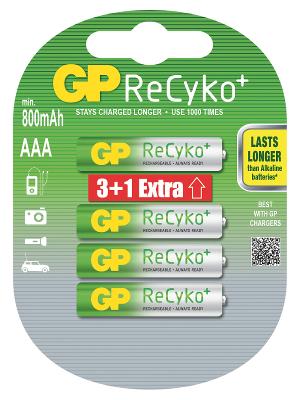 Nabíjecí baterie GP AAA Recyko+ 3+1 ZDARMA