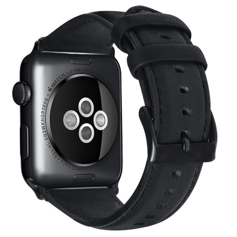Náhradný kožený remienok pre Apple Watch 42/44mm, čierna