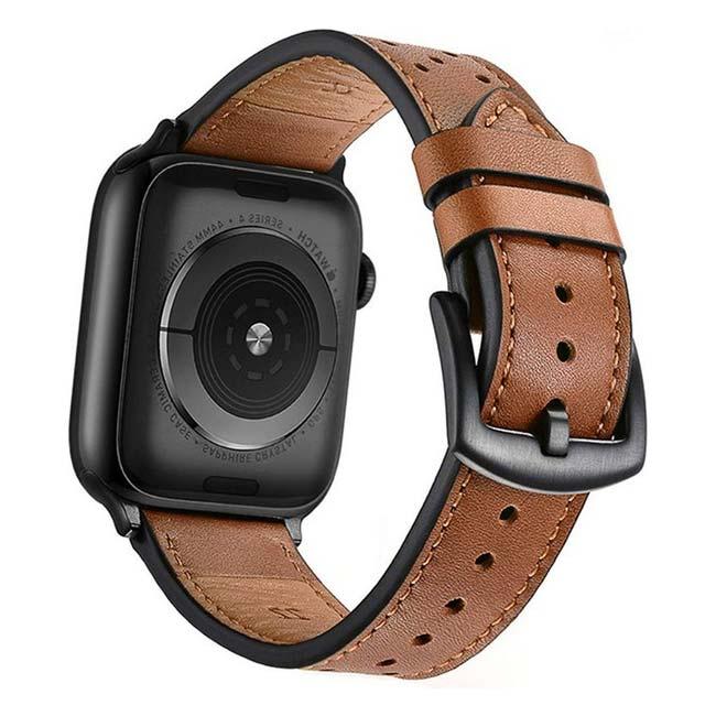 Náhradný kožený remienok pre Apple Watch 42/44mm, hnedý