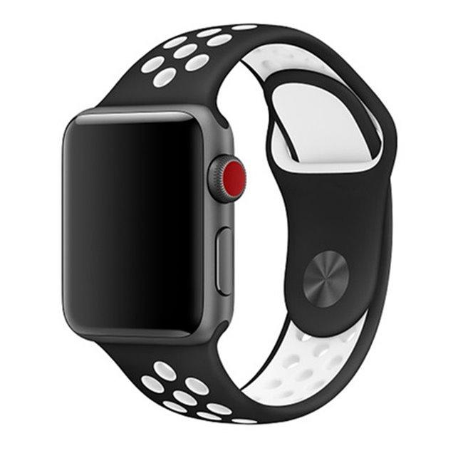 Náhradný športový remienok pre Apple Watch 42/44mm, black/white