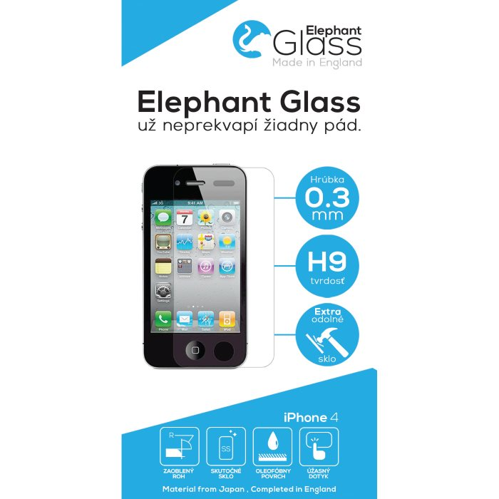 Ochrann� temperovan� sklo Elephant Glass pre Apple iPhone 4 a 4S