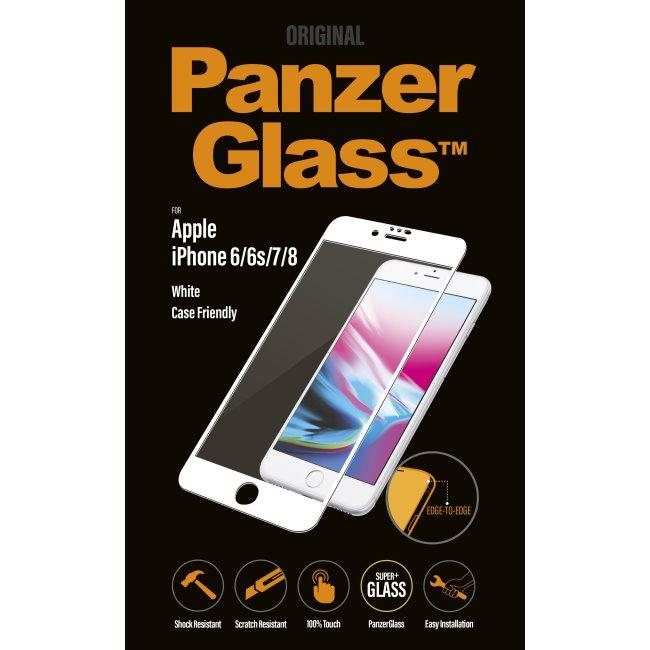 Ochranné temperované sklo PanzerGlass Case Friendly pre Apple iPhone 6/ 6S/ 7/ 8, biele