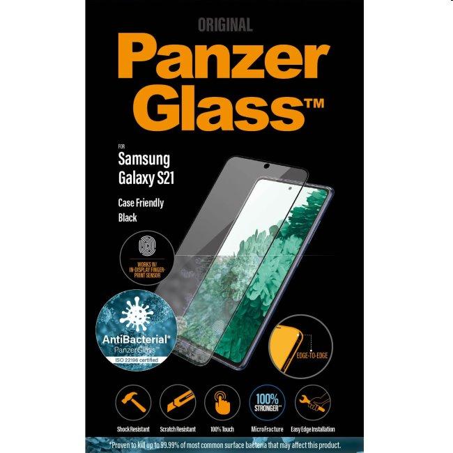 Ochranné temperované sklo PanzerGlass Case Friendly pre Samsung Galaxy S21 - G991B, Fingerprint komp., black