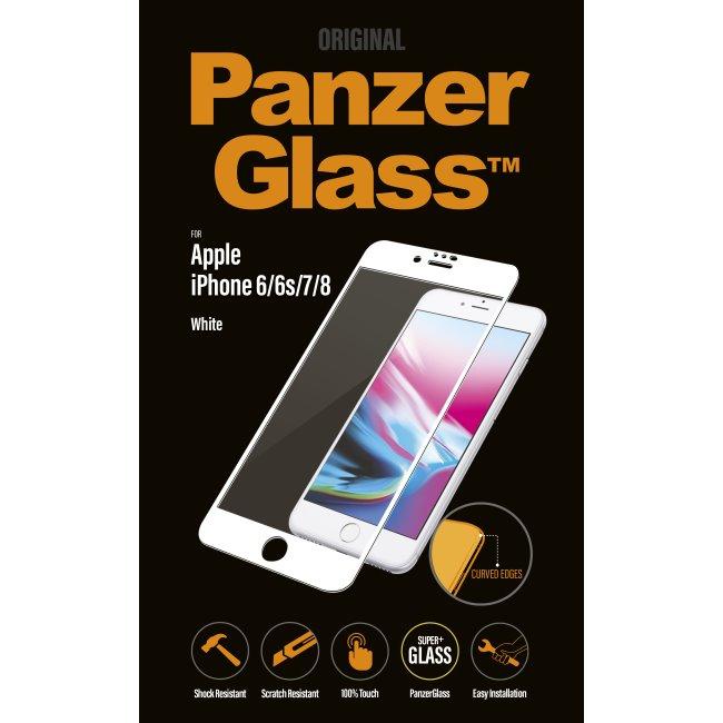 Ochranné temperované sklo PanzerGlass Curved Edges pre Apple iPhone 6/ 6S/ 7/ 8, biele 2616