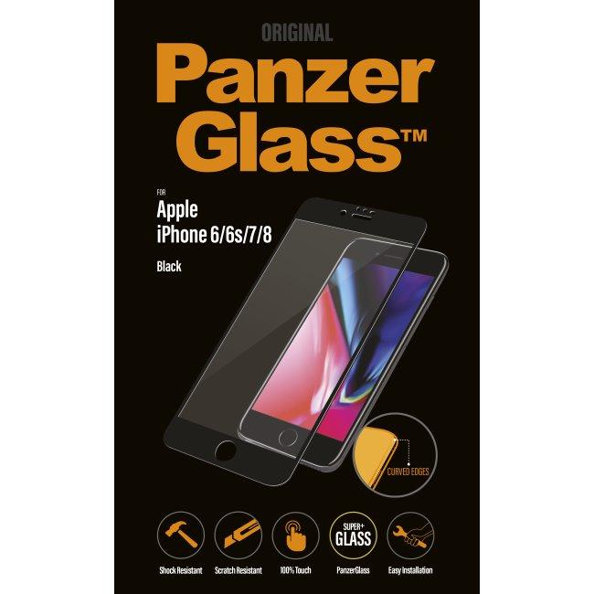 Ochranné temperované sklo PanzerGlass Curved Edges pre Apple iPhone 6/ 6S/ 7/ 8, čierne 2614