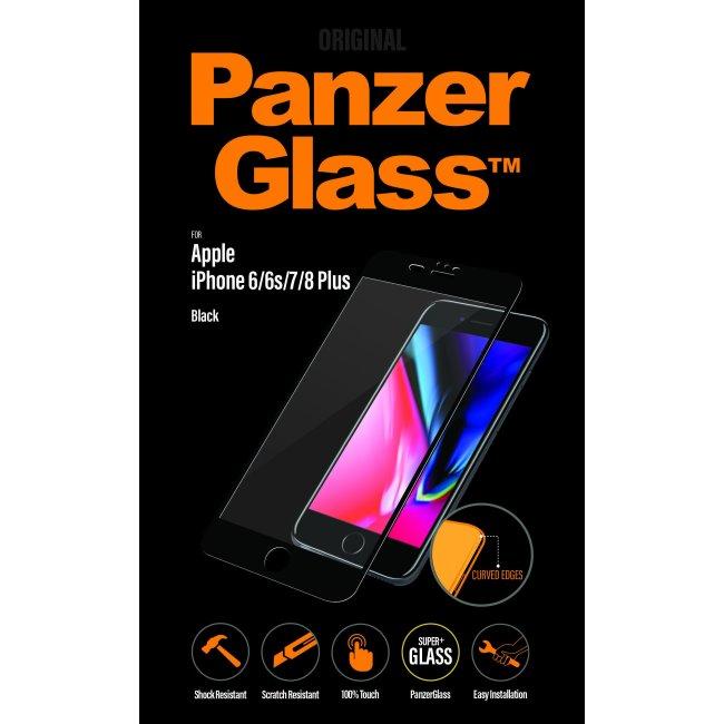 Ochranné temperované sklo PanzerGlass Curved Edges pre Apple iPhone 6 Plus/ 6S Plus/ 7 Plus/ 8 Plus, čierne 2615