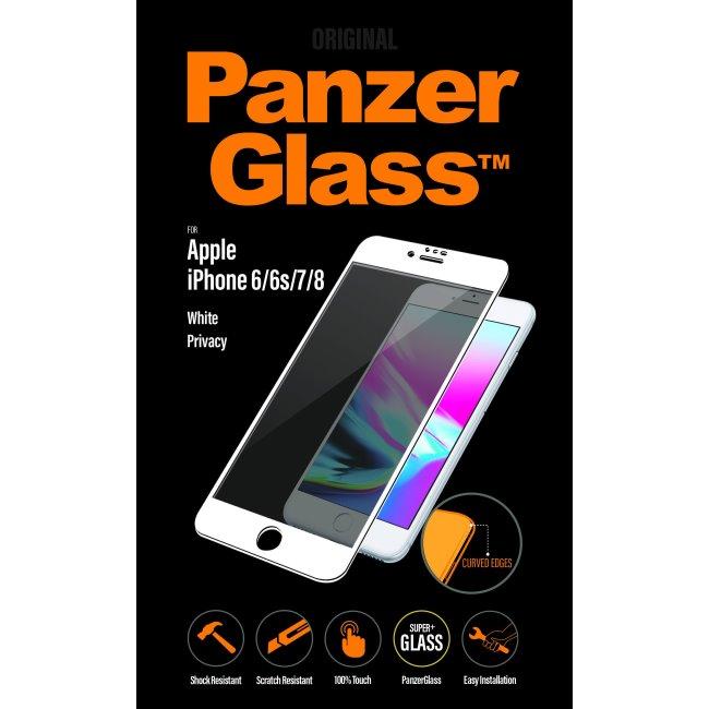 Ochranné temperované sklo PanzerGlass Curved Edges s privátnym filtrom pre Apple iPhone 6/6S/7/8, biele P2616