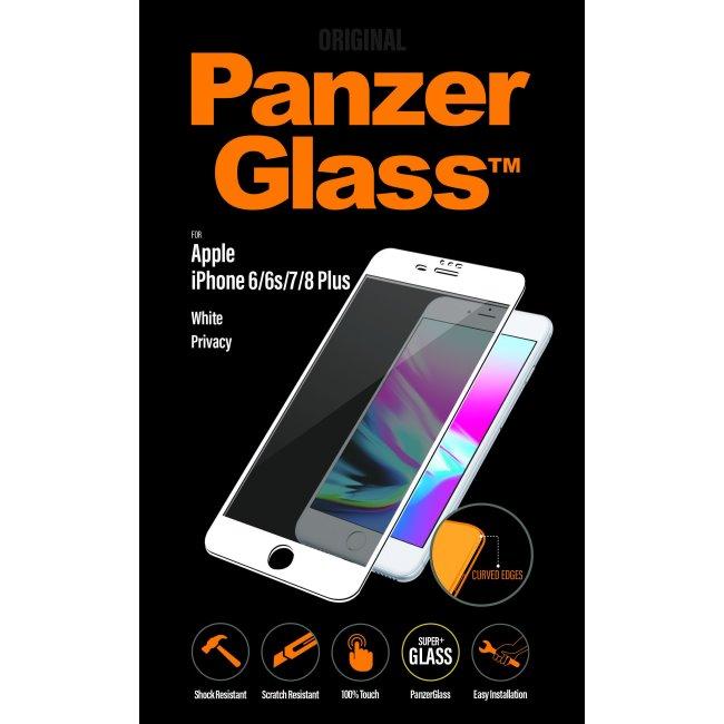 Ochranné temperované sklo PanzerGlass s privátnym filtrom pre Apple iPhone 6/6S/7/8 Plus, biele P2617